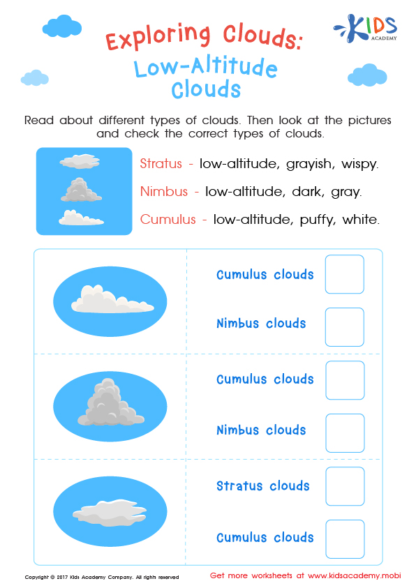 Worksheet: type of low altitude clouds