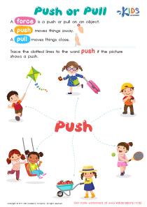 1st grade worksheet: Push or Pull