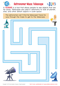 Space maze worksheet: Telescope