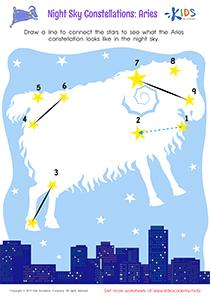 Printable constellation worksheet: Aries