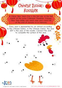 Dot to Dot Printable Worksheet: Rooster