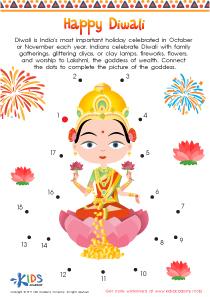 Diwali Dot to Dot Printable Worksheet