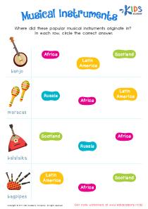 Musical Instruments Worksheet PDF