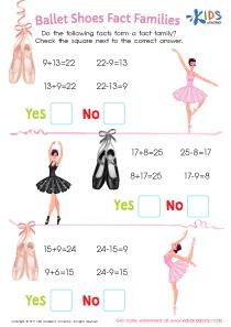 Ballet shoes fact families worksheet