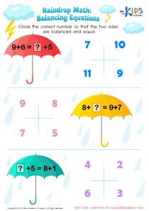 Balancing addition equations worksheet