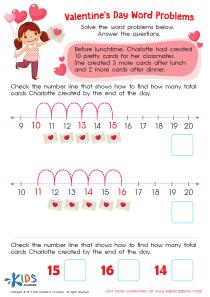 Valentine's Day word problems worksheet