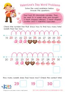 Valentine's Day word problem PDF worksheet