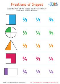 Fractions of shapes worksheet