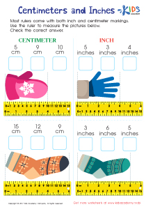 Centimeters and inches worksheet