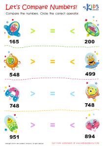 Comparing numbers worksheet for 2nd grade