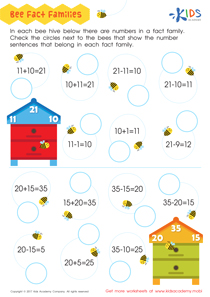 Fact families worksheet for 2nd grade