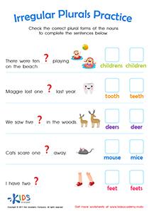 Irregular plural nouns worksheet 2nd grade