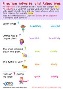 Grammar worksheet adverbs and adjectives