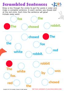 Scrambled sentences worksheet pdf