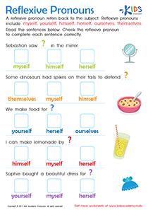 Reflexive pronouns worksheet for 2nd grade