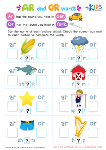 Ar and or words phonics worksheet
