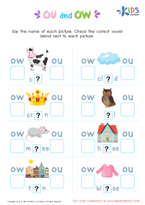 Ou and ow words worksheet