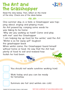 The Ant and the Grasshopper worksheet PDF