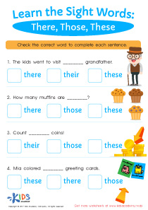 2nd grade sight words worksheet- there, those, these