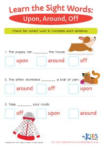 Sight words printable worksheet- upon, around, off