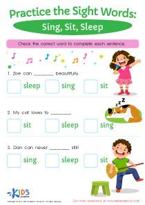 Sight words printable worksheet- sing, sit, sleep