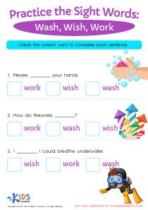 Sight words printable worksheet, wash, wish, work
