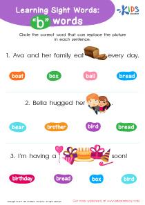 2nd grade sight words free worksheet- b words