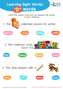 2nd grade sight words worksheet- s words