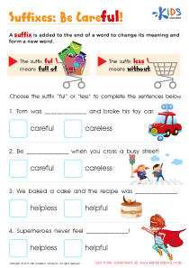 Suffixes ful and less worksheet