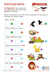 Homographs free printable worksheet
