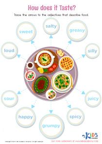 Food adjectives worksheet PDF