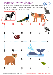 Free printable mammal word search
