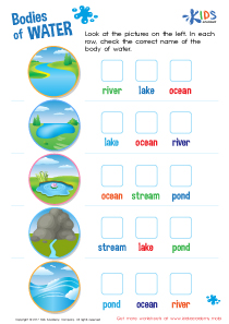Bodies of water worksheet PDF