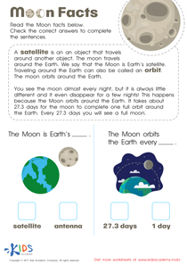 Moon facts worksheet