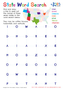 State word search puzzle worksheet