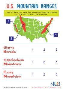 U.S. mountain ranges worksheet