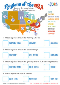 Geographic regions of the United States worksheet
