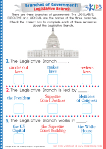 US legislative branch worksheet