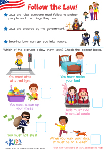 Rules and law worksheets for 2nd grade
