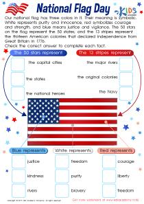 US national Flag Day worksheet