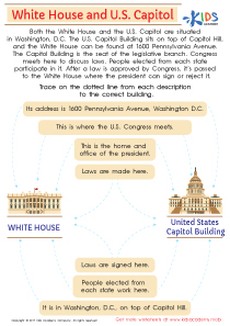 White house and US capitol worksheet
