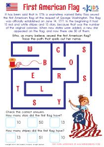 First American flag worksheet