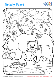 Free printable grizzly bear coloring page