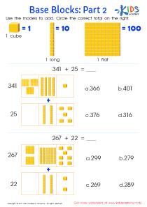 Base ten blocks PDF worksheet