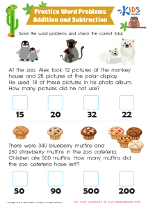 Addition and subtraction word problem worksheet for 3rd grade