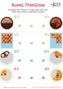 Сompare fractions worksheet for 3rd grade