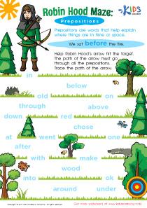 Prepositions Worksheet for Grade 3 PDF