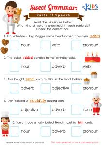 Parts of Speech Worksheet 3rd Grade