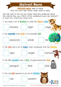 3rd Grade Abstract Nouns Worksheet