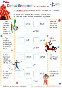 Conjunctions PDF worksheet for 3rd grade